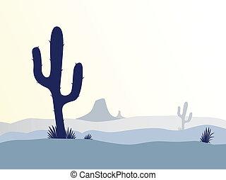 kaktusz, dezertál, napnyugta