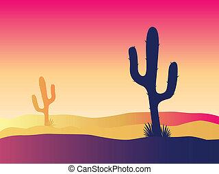 kaktusz, napnyugta, dezertál