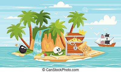 kalóz, hajó, islan, láda, kincs