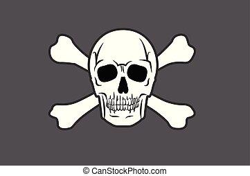kalóz, koponya, játékkockák, lobogó, két, keresztbe tett