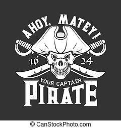kalóz, nyomtat, koponya, póló, kard, vektor