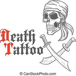 kalóz, skicc, keresztbe tett, tarka selyemkendő, kard, koponya