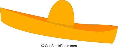 kalap, ábra, fehér, vektor, háttér., mexikói