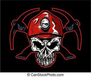 kalap, bányász, szén, koponya, piros