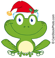 kalap, béka, santa's, boldog