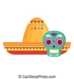 kalap, fehér, koponya, mexikói, háttér