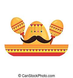 kalap, fehér, mexikói, háttér, maracas