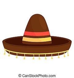 kalap, fehér, mexikói, ikon, háttér