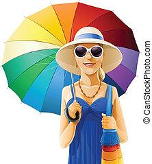 kalap, leány, esernyő