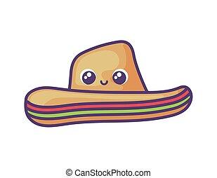 kalap, mexikói, white háttér