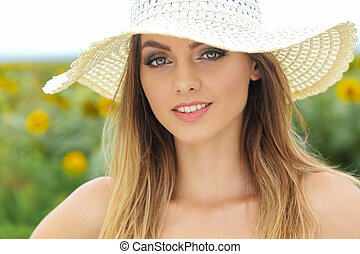 kalap, nő, napraforgó, gyönyörű, fiatal