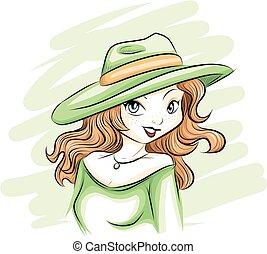 kalap, nő, zöld