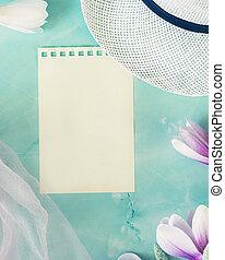 kalap, virágzó, sifón, fény, eredet, magnólia, rózsaszín háttér, sál, menstruáció, kék