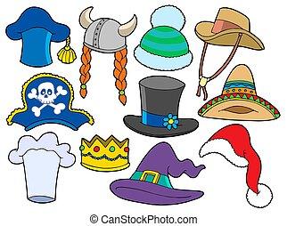 kalapok, különféle, gyűjtés