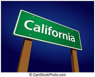 kalifornia, zöld, út, ábra, aláír