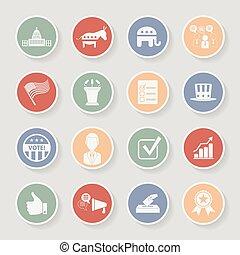 kampány, ikonok, set., politikai, ábra, vektor, választás, kerek