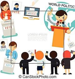 kampány, sablon, lakás, választás