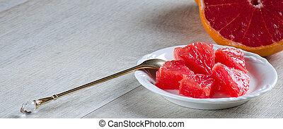 kanál, grapefruit, tányér, szelet
