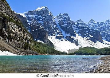kanada, agnes, banff, nemzeti, tó, liget, alberta