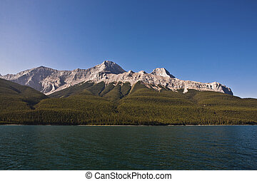 kanada, banff, liget, minnewanka, nemzeti, -, tó, alberta