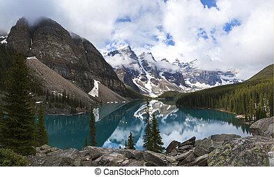 kanada, banff nemzeti dísztér, tó, moréna, alberta