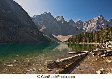 kanada, banff, -, nemzeti park, tó moraine, alberta
