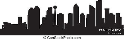 kanada, calgary, részletes, árnykép, skyline.