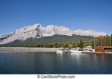 kanada, hegy, banff, liget, nemzeti, -, vízesés, alberta