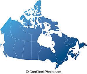 kanada, kék, árnyékolt, homály, vidék