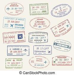kanada, város, usa, ikonok, bélyeg, utazás, vektor, útlevél