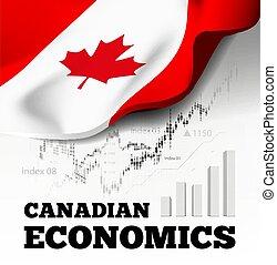 kanadai, vektor, lobogó, ábra, economics., kanada, háttér.