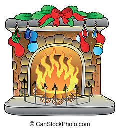 kandalló, karácsony, karikatúra