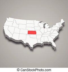 kansas térkép, egyesült államok, elhelyezés, állam, belül, egyesült, 3