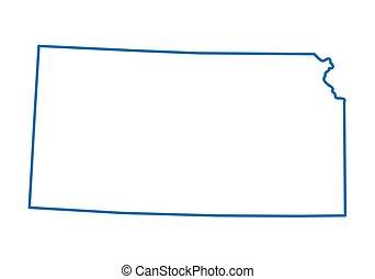 kansas térkép, elvont, áttekintés, kék