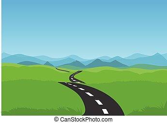 kanyargás, road., részvény, zöld, út, ábra, táj, kék ég, vektor