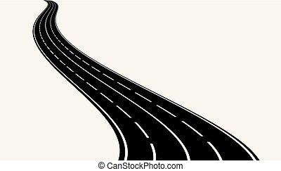 kanyargás, vektor, road., ábra