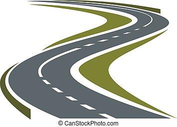 kanyargós út, kikövezett, vagy, autóút, ikon
