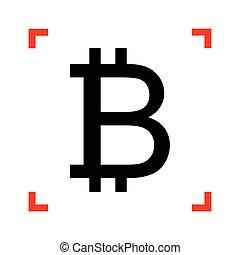 kanyarodik, cégtábla., bitcoin, összpontosít, háttér., fekete, fehér, ikon