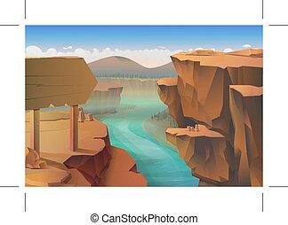 kanyon, háttér, természet