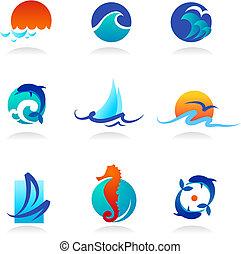 kapcsolódó, ikonok, tenger, gyűjtés