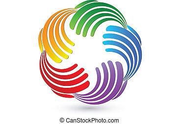kapcsolatok, jel, színes, kézbesít