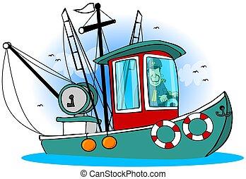 kapitány, övé, csónakázik
