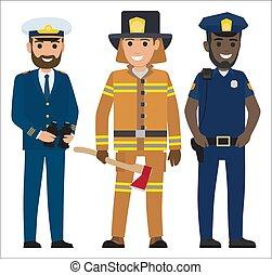 kapitány, tűzoltó, fogalom, rendőrség tiszt