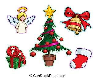 karácsony, állhatatos, csengő, ikon, harisnya, fa, angyal, -, tehetség