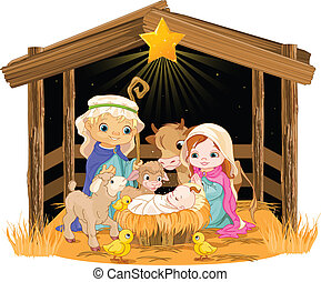 karácsony, éjszaka, család, jámbor