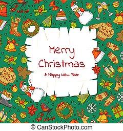karácsony, alapismeretek, öreg, színezett, szöveg, xmas tehetség, fa, vektor, állás, dolgozat, háttér, szent, húzott, kéz, pergament