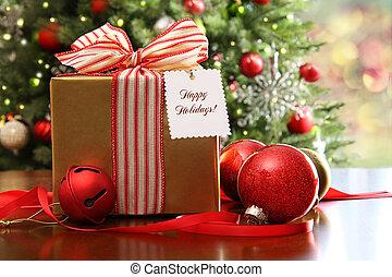 karácsony, asztal, tehetség, ülés
