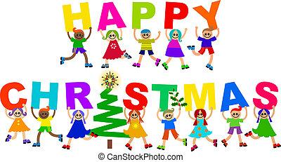karácsony, boldog, gyerekek, szöveg, különböző