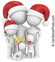 karácsony, család, portrait.