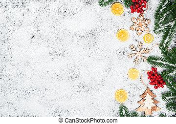 karácsony, elágazik, tél, citrom, keret, cukorka, fa, decor., apró, hó, háttér, év, új, fehér, ünnep, hópihe